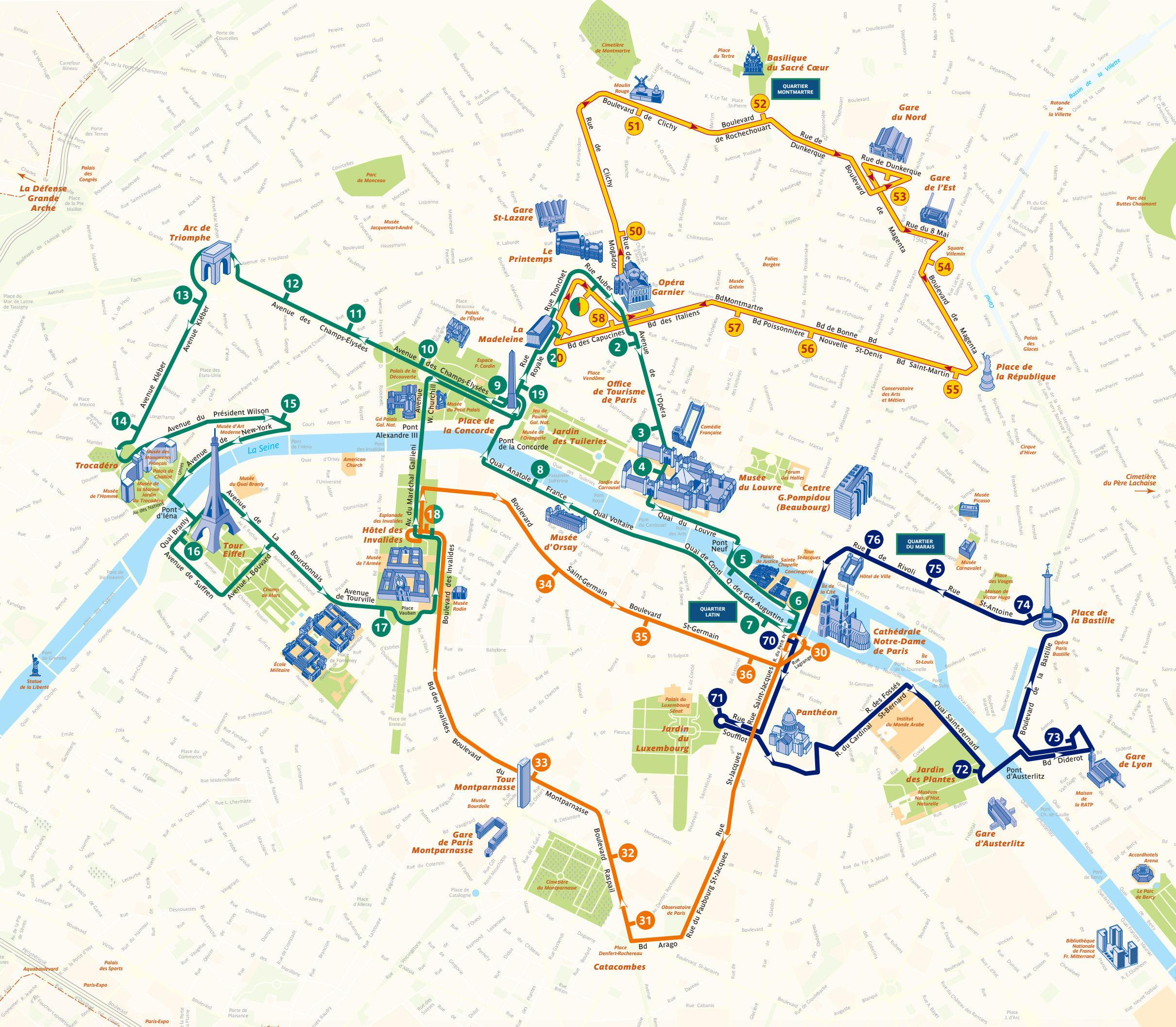 zwiedzanie Paryża autobusem - mapa
