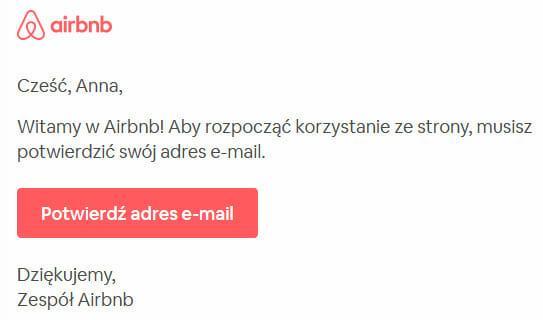 Airbnb rejestracja - potwierdzenie adresu e-mail