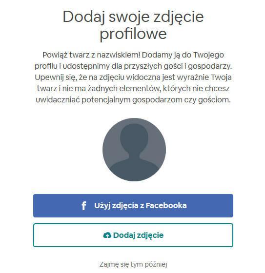 Dodanie zdjęcia profilowego w airbnb