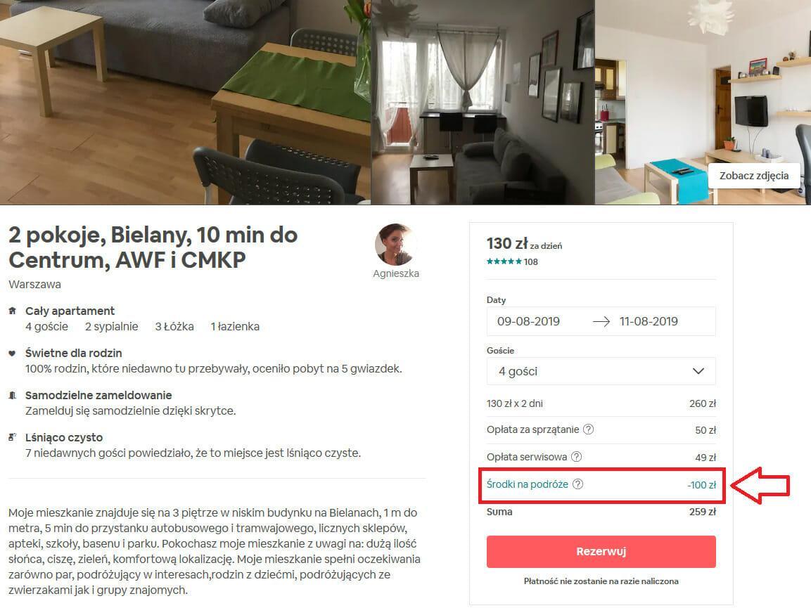 Rezerwacja noclegu w Warszawie (airbnb)