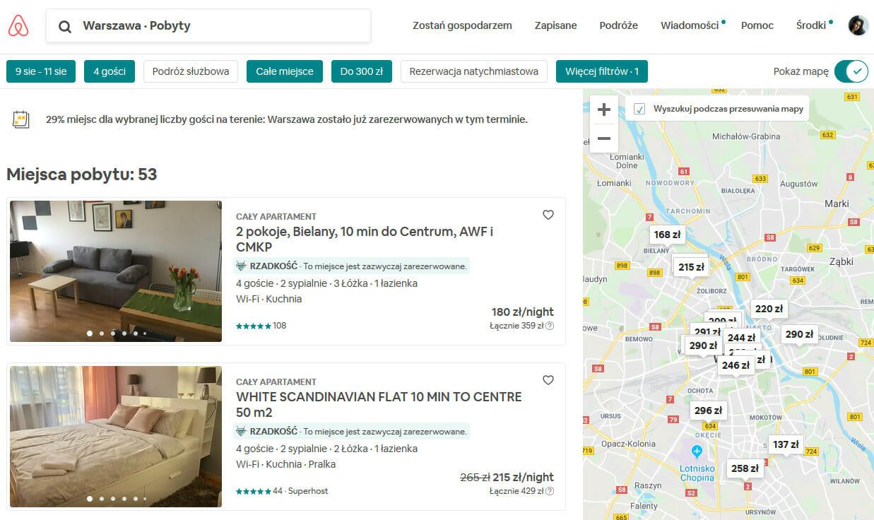 Airbnb Warszawa - spis ofert