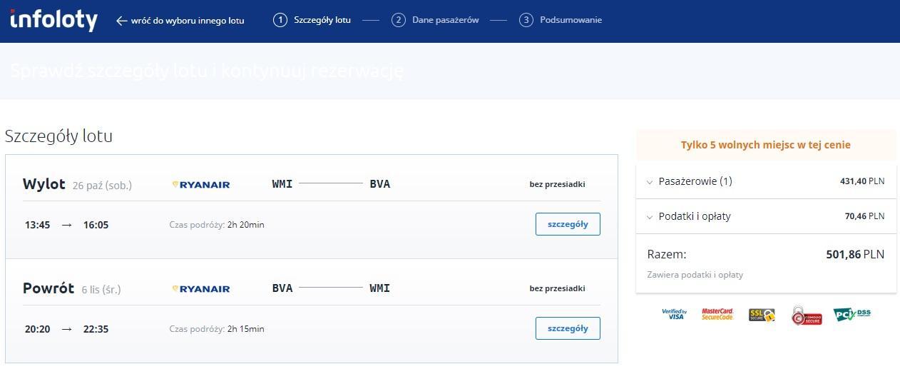 Rezerwacja biletu w serwisie infoloty