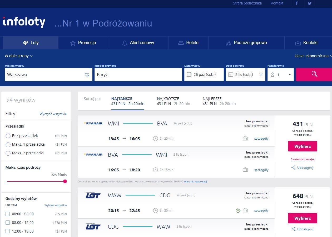 Porównanie ofert biletów lotniczych na trasie Warszawa - Paryż - Infoloty