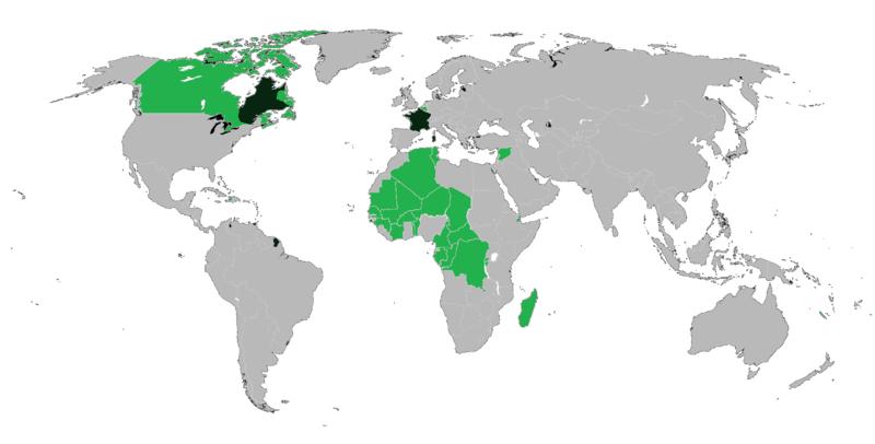 język francuski na świecie - mapa